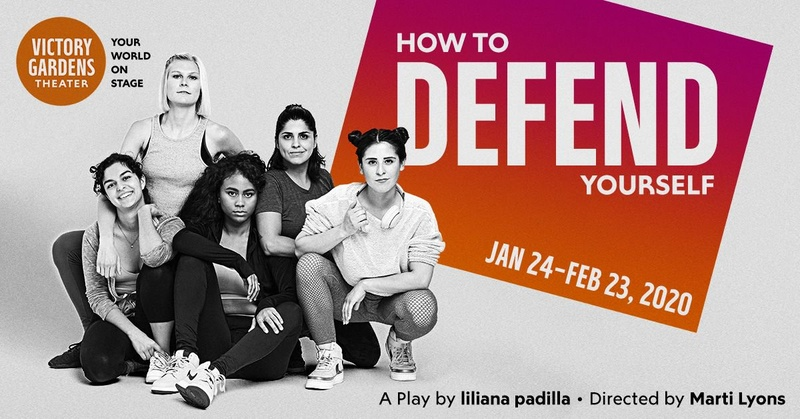 The poster image for How to Defend Yourself by liliana padilla directed by Marti Lyons. Image shows five women in their early twenties in workout gear, posing together