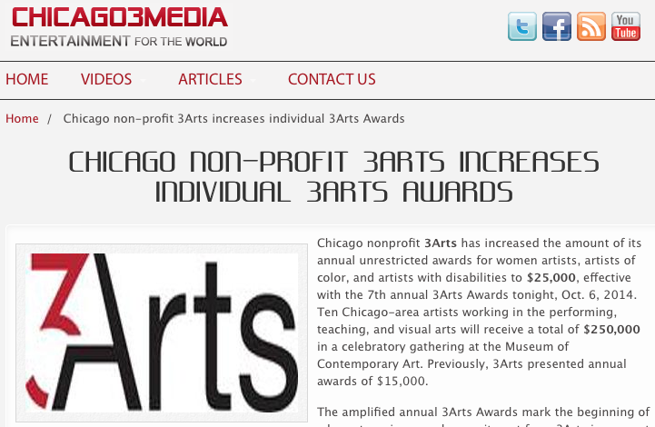 Chicago Non-profit 3Arts Increases Individual 3arts Awards