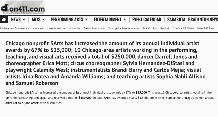Chicago nonprofit 3Arts has increased the amount of its annual individual artist awards by 67% to $25,000;