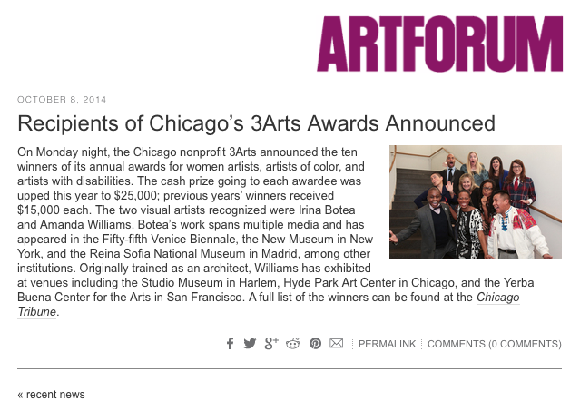 Recipients of Chicago's 3Arts Awards Announced