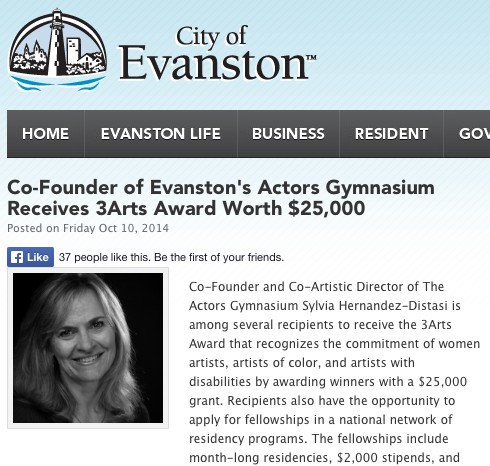 Co-Founder of Evanston's Actors Gymnasium Receives 3Arts Award Worth $25,000