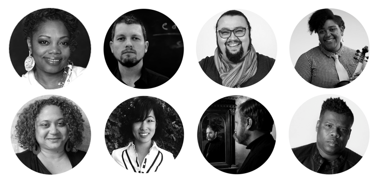 Eight circular black and white headshots of artists serving on the Artist Council