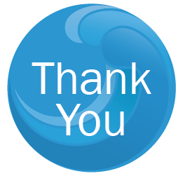 The words Thank You in a blue circle