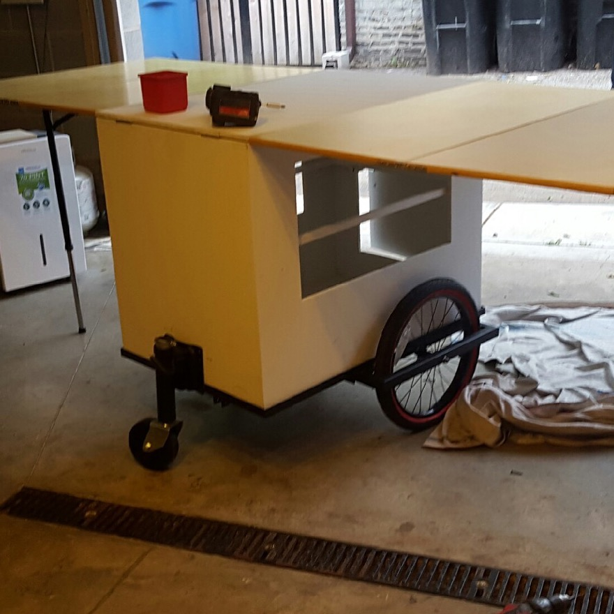 The Mobile Street Art Cart being constructed.